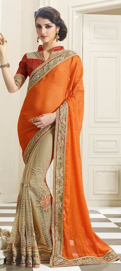 Be #Wedding ready in this Orange Saree~ 178255: Beige and Brown, Orange color family Embroidered Sarees, Party Wear Sarees with matching unstitched blouse.  #Designer #Saree! #Sari #Embroidery #DesignerWears #Occasion #IndianDresses #Partywears #Indian #Women #Bridalwear #Fashion #Fashionista #OnlineShopping #Lehenga #DesignerBlouse *Free Shipping Worldwide