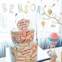 CAKE!! Dr. Seuss Oh The Places You'll Go 1st Birthday Party via Kara's Party Ideas KarasPartyIdeas.com #ohtheplacesyoullgo (11)
