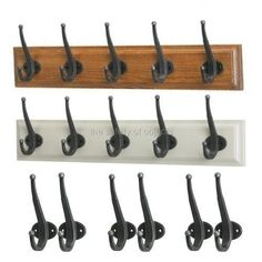 Ikea Shabby Chic Wooden Coat Rack Zinc Hooks Wall Mounted Distressed Hat Hallway
