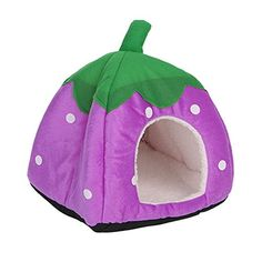 Delight eShop Strawberry Pet Bed Dog Cat Kitten Puppy Cave Kennel House with Mat Foldable New S Purple -- You can get additional details at the image link.Note:It is affiliate link to Amazon.