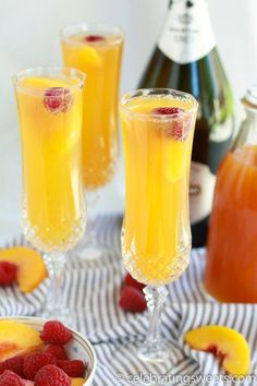 Raspberry Peach Mimosas