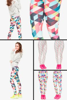 a828a1a6f9cda Multicolor Rainbow Geometric Triangle Dots Brilliant Color Yoga Fashion  Leggings