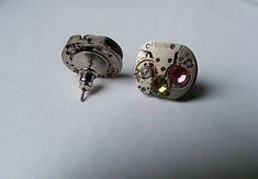 kolczyki sztyfty wkrętki steampunk rubin cyrkonia - nailart2010 - Kolczyki wkrętki