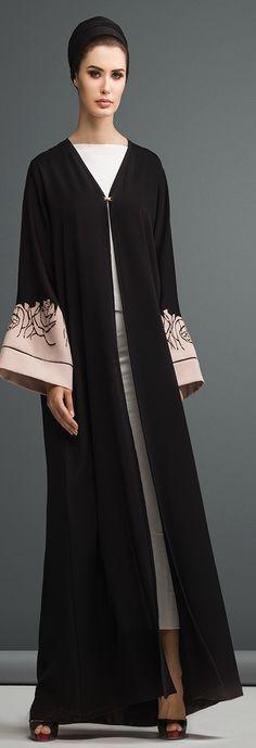 Mauzan abaya Dubai..Work : Big Rose Lasercut Design Fabric : Black + Colored Crepe Disney Wedding Dresses, Pakistani Wedding Dresses, Pakistani Outfits, Indian Dresses, Pakistani Clothing, Wedding Hijab, Arab Fashion, Muslim Fashion, Modest Fashion