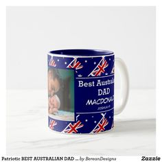 Patriotic BEST AUSTRALIAN DAD | Father's Day Photo Two-Tone Coffee Mug Fathers Day Photo, Happy Fathers Day, Fathers Day Gifts, Australian Flags, Great Father's Day Gifts, Inspirational Message, Party Supplies, Coffee Mugs, Dads