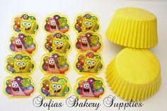 SpongeBob cupcake decorations 12 on Etsy, $4.99
