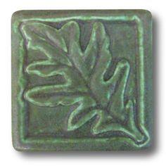 Whistling Frog Tile Company Oak Leaf 4x4 Tile 411, Artistic Artisan Designer Tiles