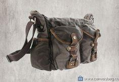 Genuine-Leather-Canvas-Shoulder-Bag-Vintage-Messenger-Bag-10 Mens Leather Satchel, Leather Briefcase, Cow Leather, Canvas Laptop Bag, Canvas Messenger Bag, Canvas Bags, Vintage Messenger Bag, Buy Bags, Rucksack Bag