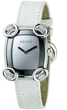 Gucci YA117506 Horsebit Women's White Leather Diamond Dress Watch 18% off retail