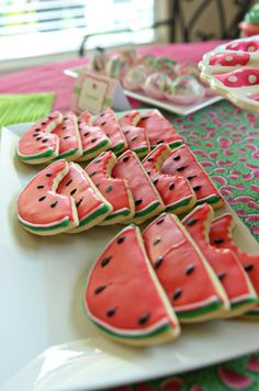 Watermelon Themed Birthday Party for a Little Girl...love the watermelon cookies for 4th of July, too!