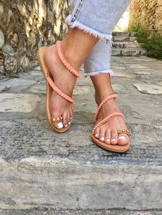Pom Pom Sandals, Gladiator Sandals, Open Toe Sandals, Made In Greece, From 100% Genuine Leather Handmade by Christina Christi Jewels.