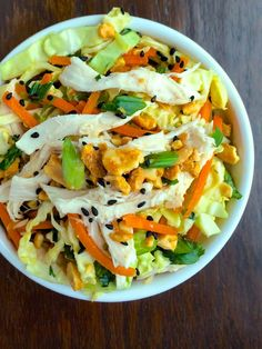 Asian Slaw with Chicken and Roasted Peanuts - The Lemon Bowl