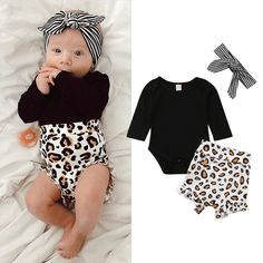 c22739943db5 Details about US Toddler Kids Baby Girl Infant Clothes Romper Tops Leopard  Print Pants Outfits