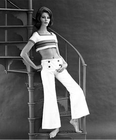 Mary Quant crop top and navy bell bottom pants - sixties sexy