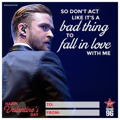 "Justin Timberlake - ""So don't act like it's a bad thing to love me"" Valentine Day Cards, Valentines, Say I Love You, My Love, Lifestyle Articles, Music Station, Justin Timberlake, Local News, Falling In Love"