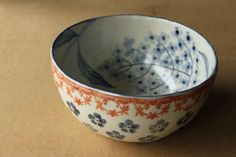 flowered bowl in soft, morning colors