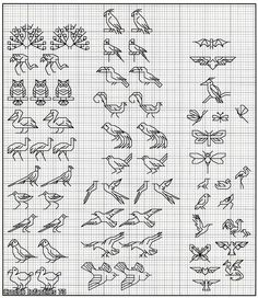 cross stitch blackwork - The Omnibook of Winged Things - Los-ku-tik flamingo owls butterfly Motifs Blackwork, Blackwork Cross Stitch, Blackwork Embroidery, Cross Stitching, Cross Stitch Embroidery, Embroidery Patterns, Mini Cross Stitch, Cross Stitch Borders, Cross Stitch Animals
