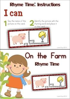 11 Literacy Centers - Farm {Pre-k & Kindergarten} 118 pages in total. Rhyme Time activity for word work. This is a FREEBIE included in the preview of the unit, so be sure to download the sample!!