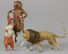 2116: THREE SPUN COTTON ANIMALS : Lot 2116