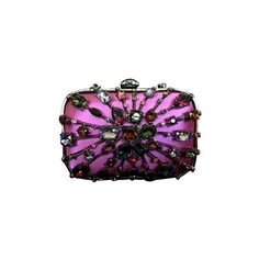 Judith Leiber Austrian Crystal Purple/multi Clutch ($418) ❤ liked on Polyvore featuring bags, handbags, clutches, purple handbags, purple purse and purple clutches