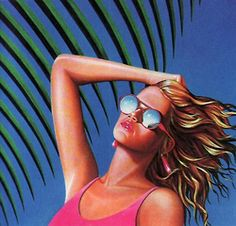 80's blonde, hot pink swimsuit.....hair by Sun In, Lady T.