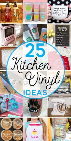 25 Creative DIY Kitchen Vinyl Ideas (Many with FREE Files!) 25 Creative DIY Home Decorations 25 Creative DIY Kitchen Vinyl Ideas (Lots with FREE Cut Files!) 25 creative DIY kitchen vinyl ideas that are pretty AND practical! Vinyl Diy, Vinyl Crafts, Diy And Crafts, Vinyl Decor, Wood Crafts, Easy Crafts, Diy Simple, Easy Diy, Diy Interior
