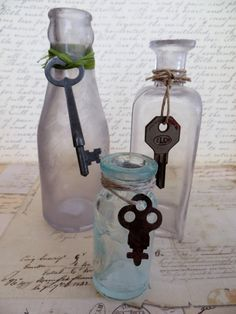 Three Antique Vintage Bottles With Skeleton Keys by tuscanroad