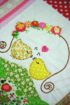 Adorable. Do something like this for the girls as a wall hanging in an embroidery hoop.