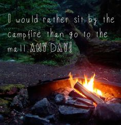 I'd rather sit IN the fire than go to the mall any day!