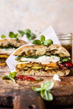 Grilled Vegetable Burrata Sandwich with Lemon Thyme Honey Mustard | halfbakedharvest.com Grilled Vegetable Sandwich, Grilled Vegetables, Veggies, Veggie Burgers, Salmon Burgers, Vegetarian Recipes, Cooking Recipes, Healthy Recipes, Vegetarian Dinners