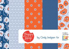 Poppy Hop Fabrics by @Cindy Lindgren for @Modern Yardage via print & pattern: