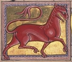 The Aberdeen Bestiary - The leocrota, folio 15v, illustration detail