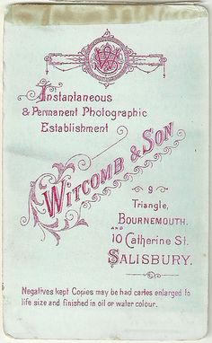 Reverse of Carte de Visite by Witcomb & son, Bournemouth and Salisbury by whatsthatpicture, via Flickr