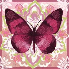 Butterfly on pink Vintage Butterfly, Butterfly Design, Butterfly Wings, Butterfly Kisses, Paper Butterflies, Beautiful Butterflies, Butterfly Pictures, Butterfly Wallpaper, Decoupage Paper