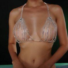 Pretty Lingerie, Lingerie Set, Crystal Bralette, Bling Bra, Body Chain Jewelry, Man Jewelry, Sexy Body, Bra Chain, Chain Mail