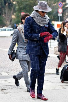 Mr. Raro at Pitti Uomo in amazing plaid.