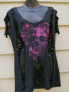 Black skull shirt, t shirt, tank, dress, deconstructed, ripped, torn, slit, rocker, grunge, cover up,shredded top