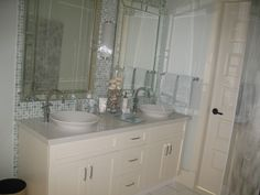 Bathroom design: Sarah Richardson Design Countertops/vanity: Patra Stone Works Ltd. Bathroom Vanities, White Bathroom, Bathrooms, Sarah Richardson, Double Vanity, Natural Stones, Countertops, Luxury, Projects