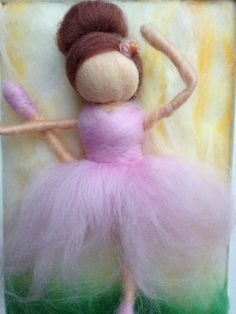 Ballerina Needle Felted Painting by kniteeney on Etsy, $45.00