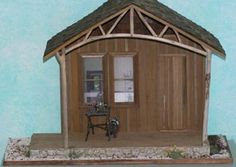 Make a Doll House Miniature Cabin Front Porch Display Shelf in 1:12 Scale: Finishing Details for the Cabin Front Porch Miniature Display Shelf
