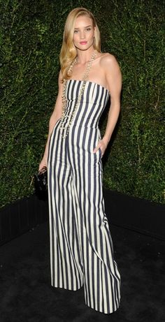 Rosie Huntington Whiteley in Chanel's black & white jumpsuit