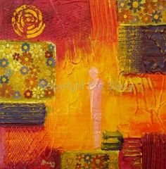 """Daily Painters Abstract Gallery: Original Contemporary Abstract Mixed Media Flower Art Painting """"Flower Power"""" by Contemporary Arizona Artist Pat Stacy"""