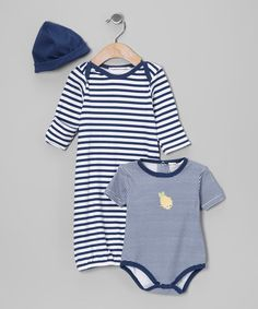 Look at this #zulilyfind! Navy Stripe Gown Set - Infant by Rumble Tumble #zulilyfinds