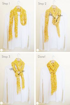 Scarves can instantly add glam to any outfit.any time of the year! Create this easy, but classic, look in seconds! Scarves can instantly add glam to any outfit.any time of the year! Create this easy, but classic, look in seconds! Ways To Tie Scarves, Ways To Wear A Scarf, How To Wear Scarves, Wearing Scarves, Look Fashion, Diy Fashion, Autumn Fashion, Fashion Outfits, Fashion Tips