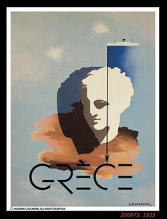 Vintage Travel Poster - Grèce/Greece - by Cassandre, A. History Design, Art Deco Posters, Photo Art, Illustrations Posters, French Poster, Illustration Art, Art, Poster Design, Vintage Posters