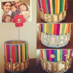Nuestro regalo del #diadelpadre Portalápices / portarretratos usando lata de leche y paletas pintadas