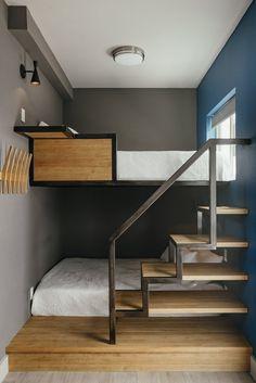 Cute Bedroom Decor, Room Design Bedroom, Home Room Design, Gray Bedroom, Tyni House, House Rooms, Steel Bed Design, Loft Bed Plans, Loft Interior Design