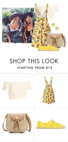 """Sunflower"" by joybug9 ❤ liked on Polyvore featuring Soludos, Kate Spade, TrickyTrend and overalls"
