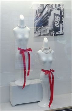 Macy's Red Highlights Greyscale Porcelain Figures In Jewelry