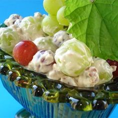 Green Grape Salad Allrecipes.com I HAVE MADE THIS SALAD BUT I CUT BACK ON ALL THE SUGAR BECAUSE IM DIABETIC
